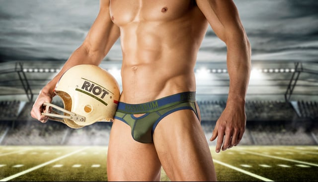 Out-play the competition with 'Riot'. These high-performance undies are made using a woven sports-mesh fabric that draws moisture away from the body and has custom air-vents for breathability. The futuristic design features a bold metallic waistband and is available in a brief and a more durable jockstrap. Game on! Proudly Australian made