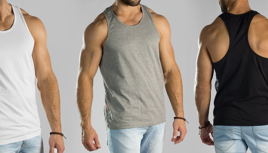 Pima Cotton Singlet 3 Pack Grey/Black/White Lifestyle Image