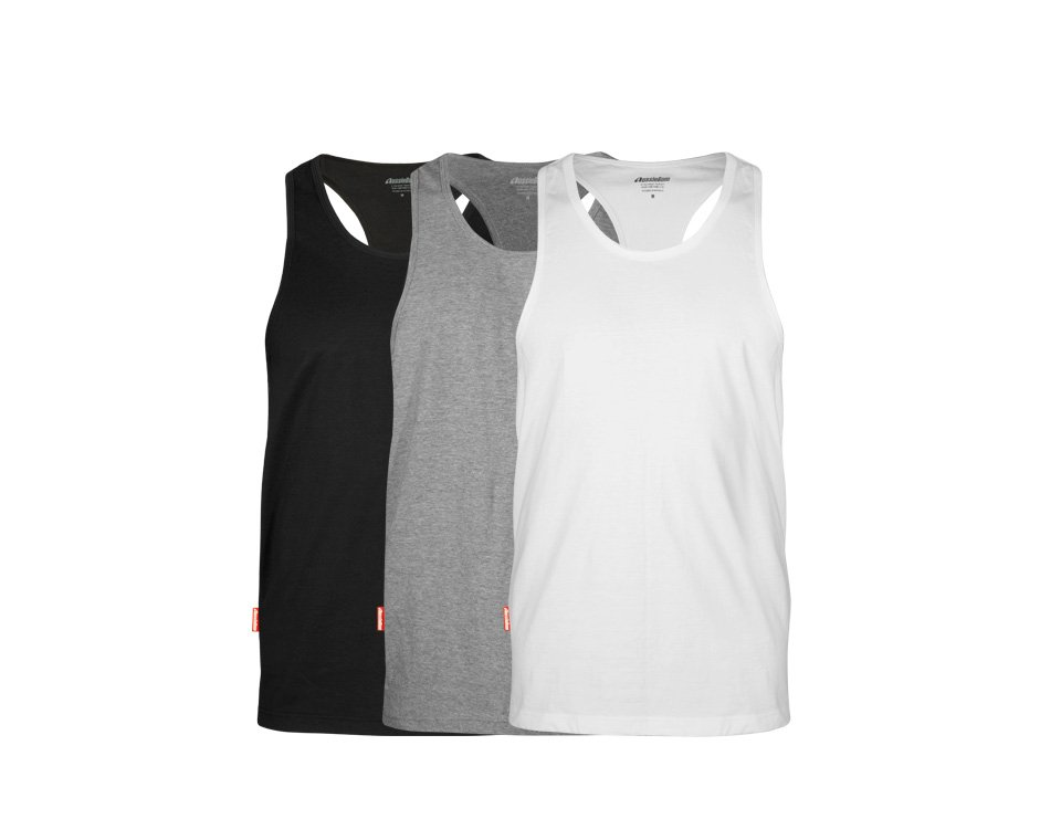 Pima Cotton Singlet 3 Pack Grey/Black/White Main Image