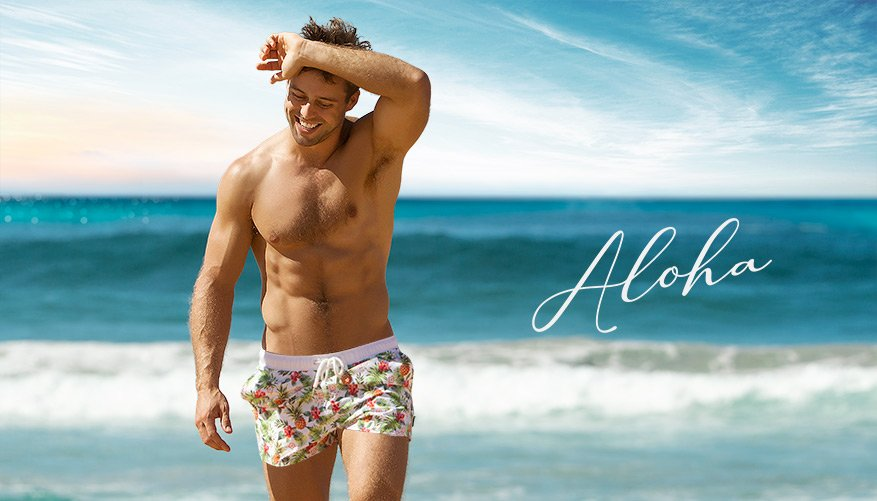 Aloha - Swim Short - White Video Image