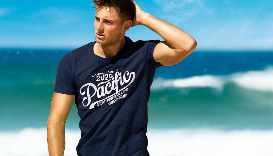 Designer Tee Pacific Blue Lifestyle Image