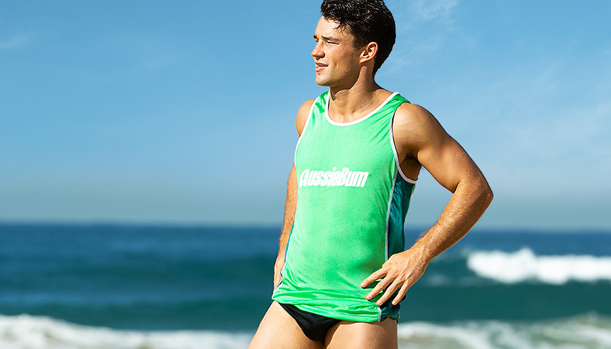 Surf Singlet - Green and Blue